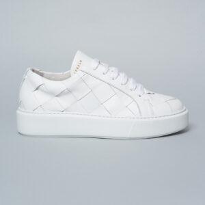 exklusive weiße Schuhe in Glattlederflechtung