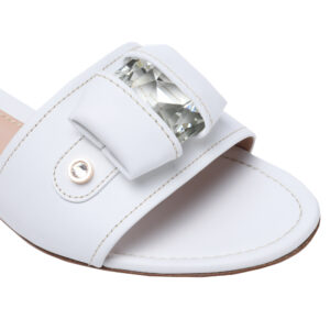 Glattleder Schuhe kaufen - erstklassige weiße Pantoletten